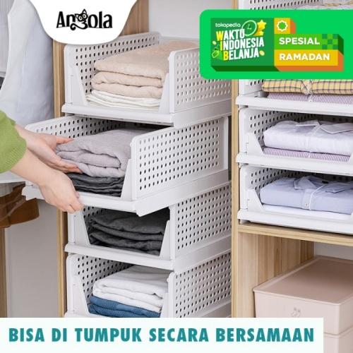 Foto Produk Rak Laci Storage Penyimpanan Rak Baju Tempat Baju Rak Kamar Mandi C19 - Putih dari Angola Official Store