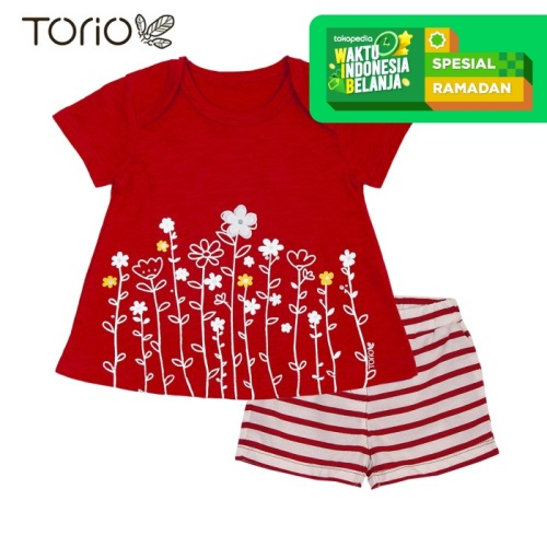 Foto Produk Torio Short Pant Set Red Floral - Baju Setelan Bayi Perempuan - 3-6 bulan dari Torio