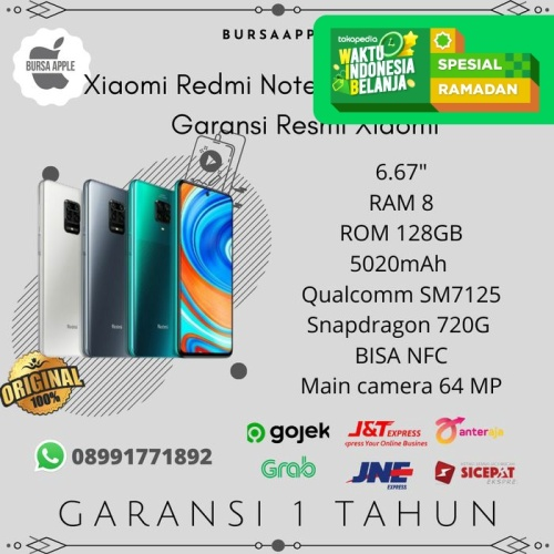 Foto Produk Xiaomi Redmi Note 9 Pro 8/128 RAM 8GB ROM 128GB Garansi Resmi Xiaomi - Biru dari BursaApple