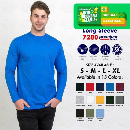 Foto Produk Kaos Polos NSA Premium Cotton 7280 Long Sleeve/ Lengan Panjang ORI SBY dari Histocloth