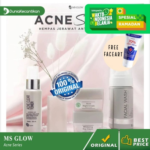 Foto Produk Ms Glow Paket Acne Series Free Pouch / Cream Penghilang Jerawat - paket Acne dari DuniaKecantikan