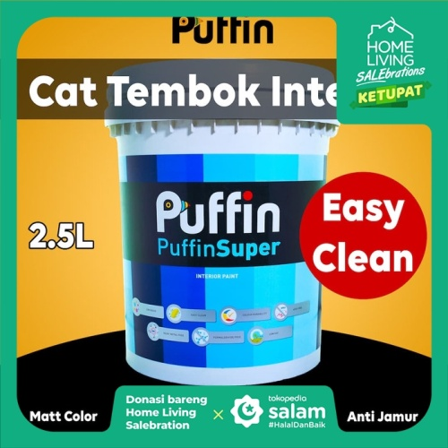 Foto Produk Cat tembok interior Puffin Super 2.5L easy clean dari puffinpaint