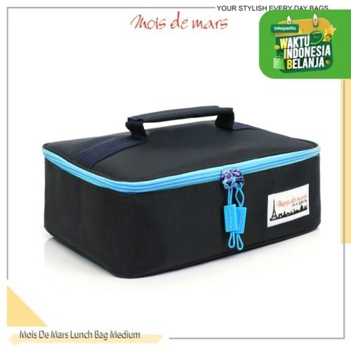 Foto Produk MOIS DE MARS Insulated Medium Lunch Bag / Tas Bekal tahan panas - Hitam Turquoise dari MoisDeMars_Bags