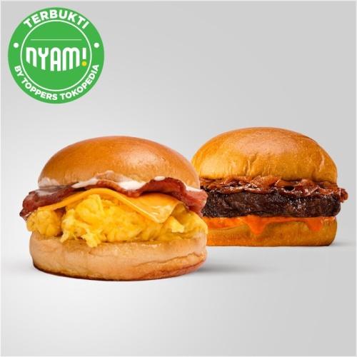 Foto Produk Beef Burger ( 80 gr ) & Egg Brisket Cheese Burger dari Flip Burger