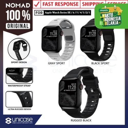 Foto Produk Strap Apple Watch 44mm / 42mm Nomad FKM Rugged Silicone Rubber Band - BlackRugged V2 dari Nomad Official