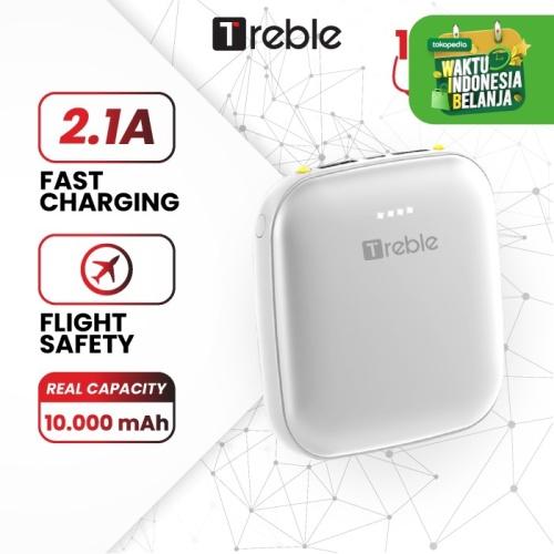 Foto Produk Powerbank / Power Bank 2 USB Portable mini 10000mah TREBLE- TPB5-B/A - Putih dari Trebleofficialstore