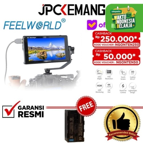 "Foto Produk FeelWorld LUT6 LUT 6 6"" HDR 4K HDMI Monitor Eksternal GARANSI RESMI dari JPCKemang"