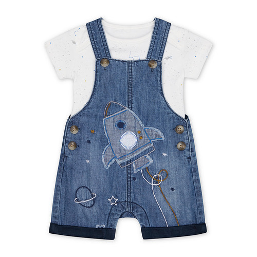 Foto Produk denim rocket bibshorts and white space dinosaur bodysuit set - Up to 1 mnth dari Mothercare Official Shop