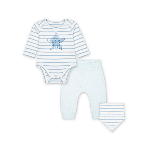 Foto Produk my first blue star bodysuit, velour leggings and bib set - 9-12 months dari Mothercare ELC Official