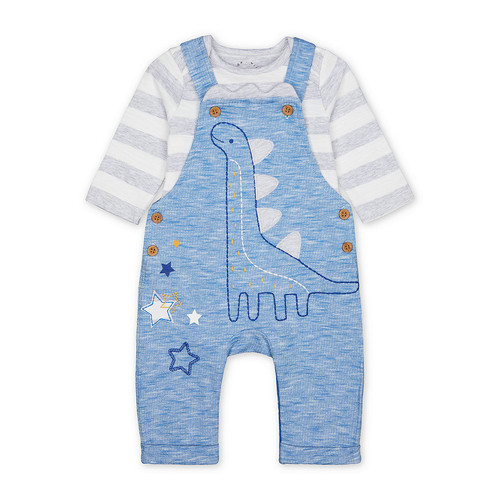 Foto Produk blue dinosaur dungarees and striped bodysuit set - Up to 3 mnth dari Mothercare Official Shop