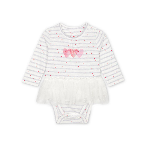 Foto Produk Mothercare love striped tutu bodysuit - GREY, Up to 1 mnth dari Mothercare Official Shop