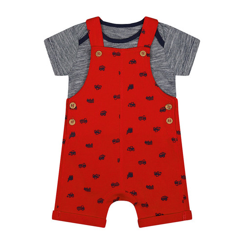 Foto Produk Mothercare red waffle bibshorts and bodysuit set - Red, Up to 1 mnth dari Mothercare Official Shop