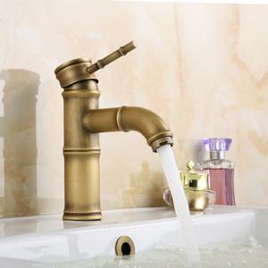 Foto Produk Antique Copper Bathroom Bamboo Vessel Sink Curved Faucet Single dari Interest Shop