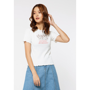 Foto Produk Colorbox Rib Crop Printed T-Shirt I:Tskkey120G017 Off White - Off White, S dari Colorbox Indonesia
