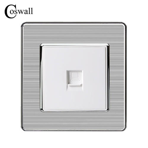 Foto Produk Wall Single Internet Socket Power Outlet Stainless Steel Brushed dari Aliando Pratama