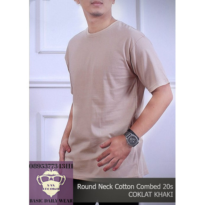 Foto Produk Kaos Pria Polos Shirt Baju Oblong ONECK COTTON COMBED 20s Coklat Khaki - S dari Legowo-shop