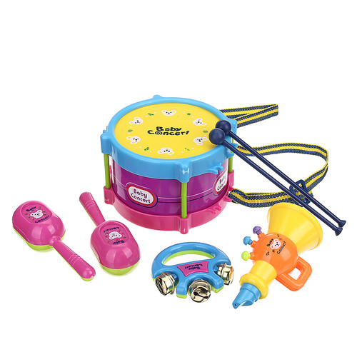 Foto Produk Garansi. 5Pcs Children Toy Drum Trumpet Music Percussion Educationa dari Rumah Cantik Hilwa