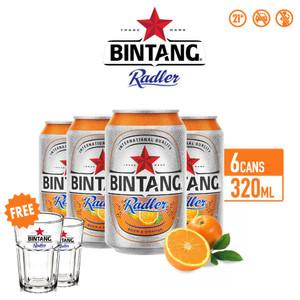 Foto Produk Bir Bintang Radler Orange 320ml Can Multipack 6 + FREE Gelas Radler dari Drink Corner Bekasi
