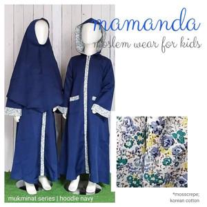 Foto Produk Gamis Anak Hoodie Navy Mukminat Series by Mamanda dari kedai berkah