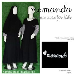 Foto Produk Gamis Anak Black Stripe Hommy Dress by Mamanda dari kedai berkah