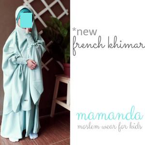 Foto Produk Gamis Anak French Khimar Cyan Mukminat Series by Mamanda - S dari kedai berkah