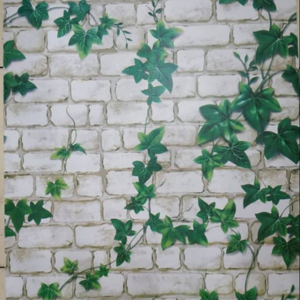 Foto Produk Terheboh walpeper stiker motif bata putih kombi'asi daun dari techno shop26
