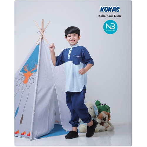 Foto Produk Kokas - Setelan Koko Kaos Anak by NuBintang - Navy, Size L dari kedai berkah