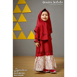 Foto Produk Gamis Anak Dark Maroon Marmalade Signature Series by Qoulan Sadida dari kedai berkah