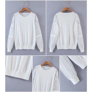 Foto Produk 59427 White Gauze Sleeve Blouse Renda Putih Polos Lengan Panjang dari XineShop