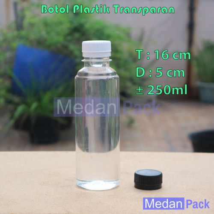Foto Produk Botol Plastik Bulat Transparan Almond GT 250 ml per 100 pcs dari Medan Pack