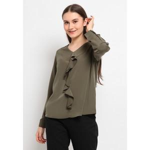 Foto Produk The Executive Flounced V-Neck Blouse 5-BLWKEY120G044 Olive - Olive, XL dari The Executive Indonesia