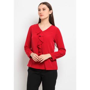 Foto Produk The Executive Flounced V-Neck Blouse 5-BLWKEY120G073 Red - Red, S dari The Executive Indonesia