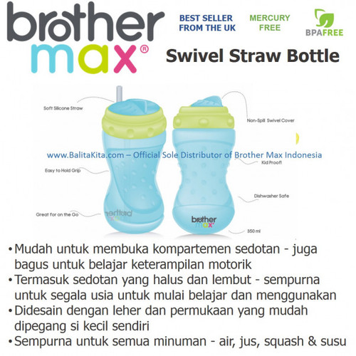 Foto Produk Brothermax Swivel Straw Bottle Pink Green dari Yen's Baby & Kid Official Shop