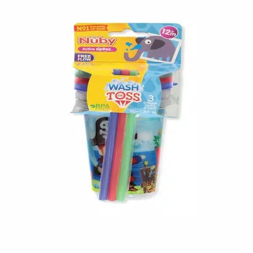 Foto Produk Nuby Baby Wash or Toss Straw Cups with Lids 3PK dari Yen's Baby & Kid Official Shop