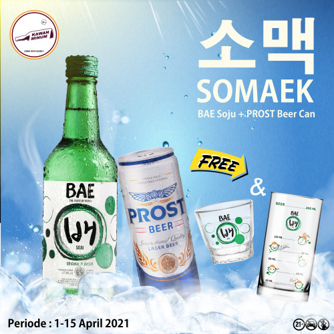 Foto Produk SOMAEK (BAE Soju + Prost Lager Can) FREE Gelas & Sloki dari kawan minum