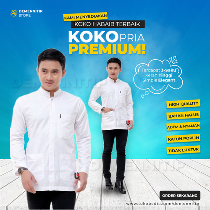Foto Produk Koko Panjang Rabbani Baju Koko Untuk Remaja Kemeja Koko Rabbani - Putih dari demennitip