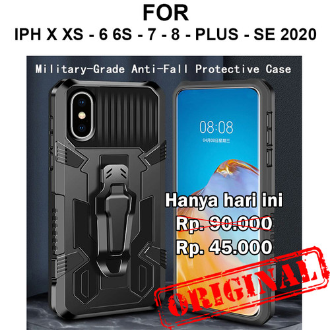Foto Produk Case iPhone X Xs - 6 6s - 7 - 8 - Plus SE 2020 casing cover BELT ARMOR - iPh X / XS, Black dari Case Pedia