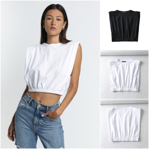Foto Produk 60937 Black White Sleeveless Top / Blouse Hitam Putih Tanpa Lengan dari XineShop