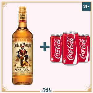 Foto Produk Captain Morgan Spiced Rum Gold 750ml + 3 Can Coca-Cola dari Malt Master