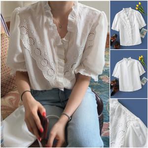 Foto Produk 61772 White Hollow Embroidery Top / Blouse Putih Polos dari XineShop