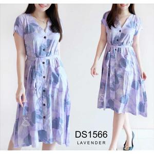 Foto Produk DS1566 - DRESS HOMEY BUSUI FRIENDLY WANITA DRESS BUNGA MIDI FLARE - LAVENDER dari Seola