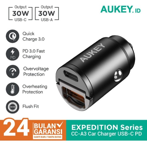Foto Produk Charger Mobil Aukey CC-A3 2 Port USB-C & USB A With PD & QC - 500787 dari AUKEY