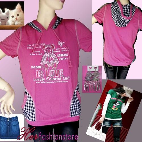 Foto Produk Bear short-sleeves hoodie - Pink dari Herfashionstore