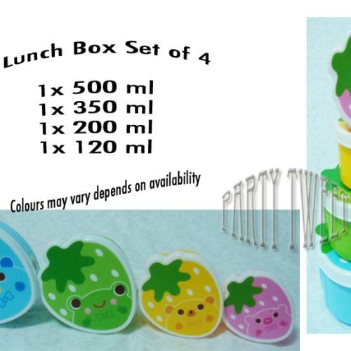Foto Produk Lunch Box - Strawberry - Set Of 4 dari Upcoming Party Tweet