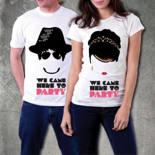 Foto Produk Kaos Couple : We Came Here To PARTY! (white) dari Bubble Ink Clothing