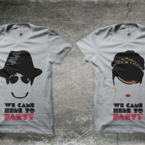 Foto Produk Kaos Couple : We Came Here To PARTY! (gray) dari Bubble Ink Clothing