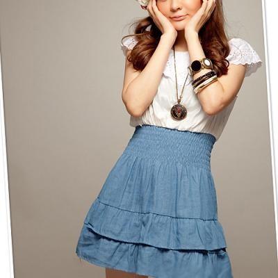 Foto Produk cute dress white & blue dari Yupi
