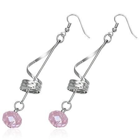 Foto Produk FFEGH366 - Fashion Pink Beads Swirl Long Drop Hook Earring (pair)  dari Aksesoris Lucu