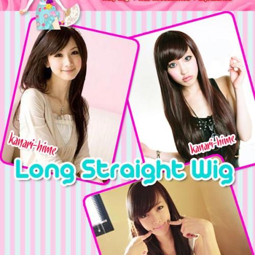 Foto Produk Kanari Hime Long Straight Wig Color: Black, Dark Brown dari La Chan Shop