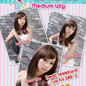 Foto Produk Kanari Hime Medium Wig Poni Samping Black, Darkbrown, Medium Brown dari La Chan Shop